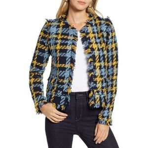 Halogen Tweed Fray-Edge Open Front Blazer Jacket